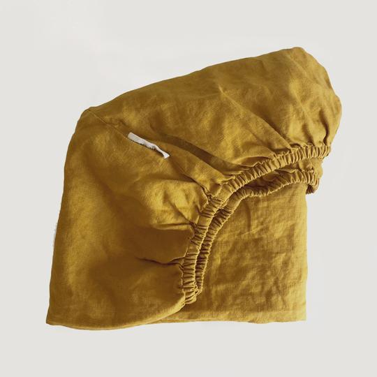 7 Pm Linen Cot Sheet (mustard)