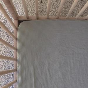 7 Pm Linen Cot Sheet (sage)