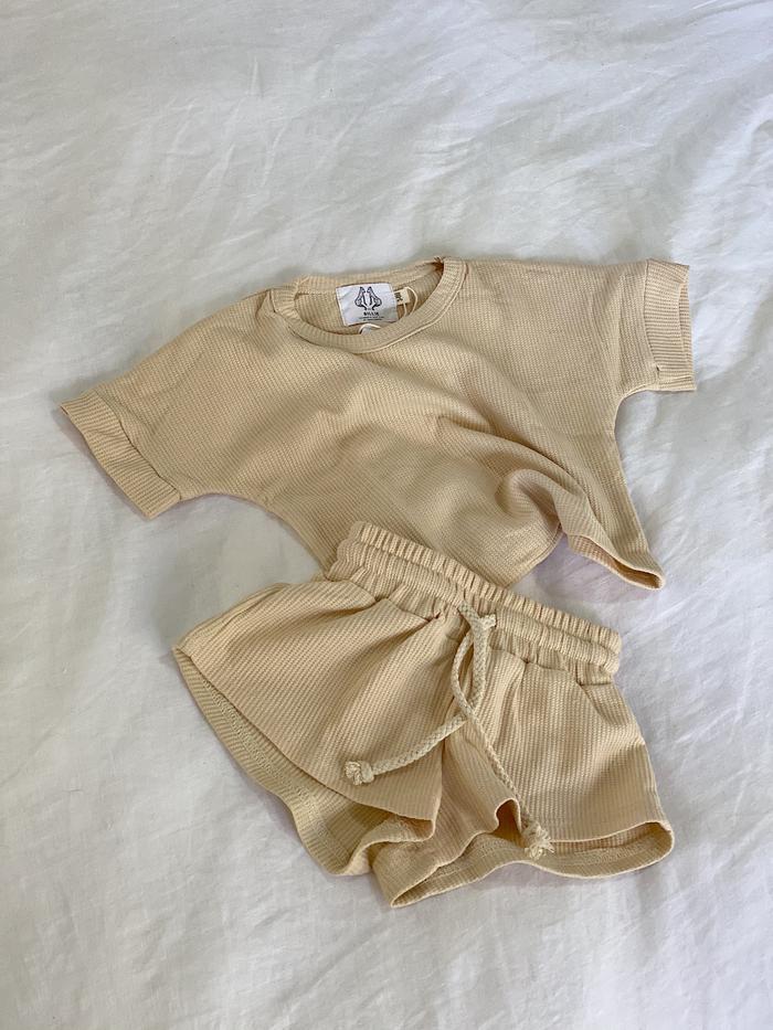 By Billie Waffle Cotton Shorts Set Vanilla