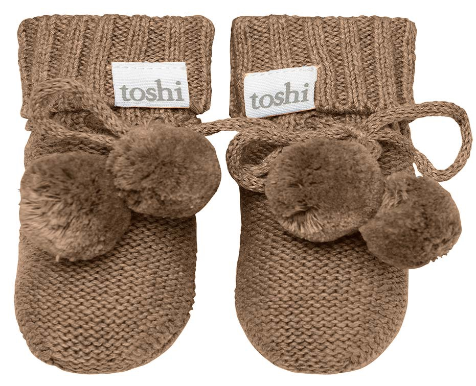 Toshi Organic Knitted Baby Booties (cocoa)