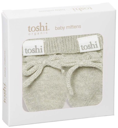 Toshi Organic Knitted Baby Mittens (thyme)