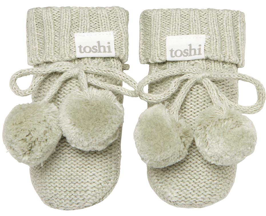 Toshi Organic Knitted Baby Booties (thyme)