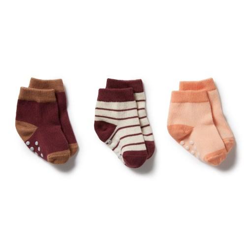 Wilson and Frenchy 3 Pk Baby Socks (flamingo, wild ginger, burro)