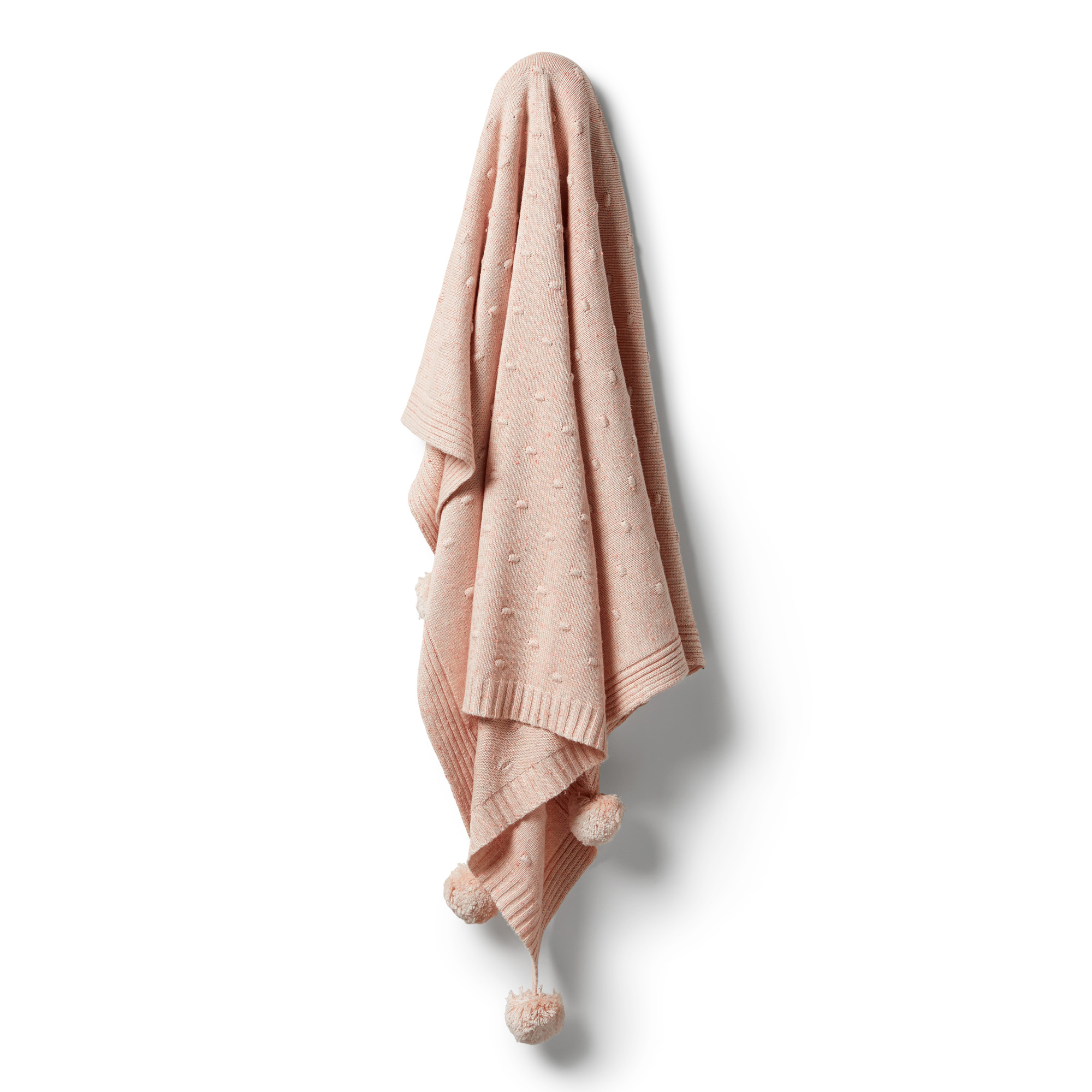 Wilson and Frenchy Knitted Spot Jacquard Blanket (flamingo oatmeal fleck)