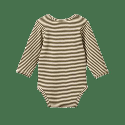Nature Baby Long Sleeve Bodysuit (cypress stripe)