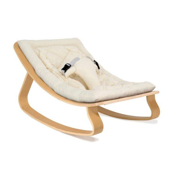 Charlie Crane Levo Rocker Beech w/organic white cushion