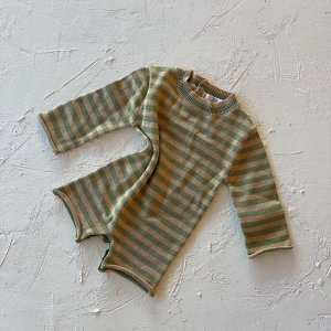 By Billie Yoko Knit Romper (green stripe)