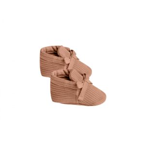 Quincy Mae Ribbed Baby Booties (terracotta)