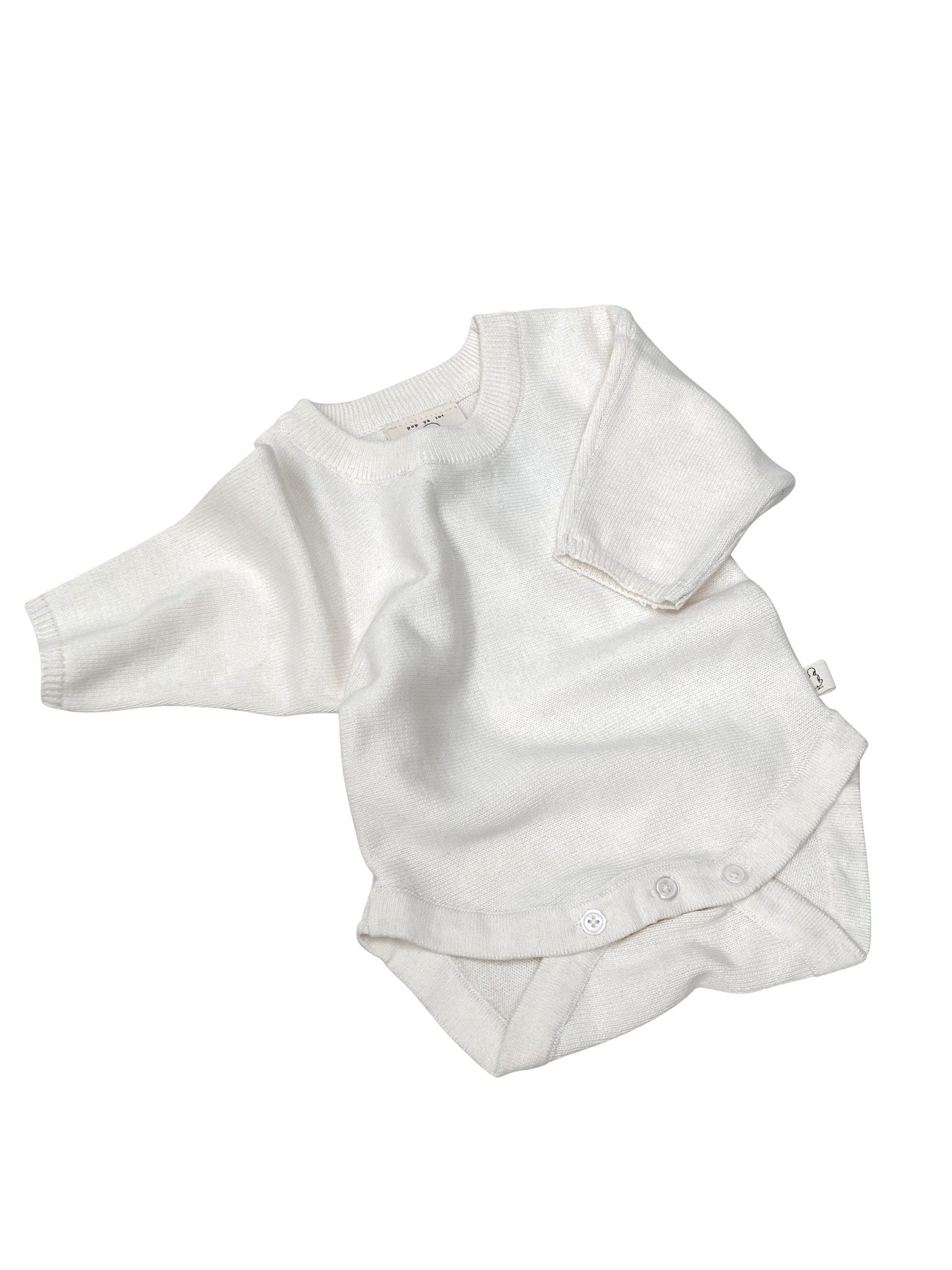 Pop Ya Tot Knitted Bodysuit (off white)