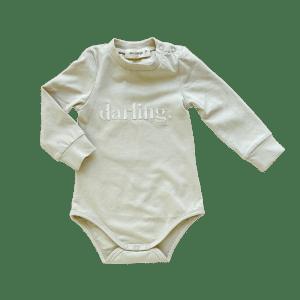 "Two Darlings Baby L/S ""Darling"" Bodysuit (soft sage)"