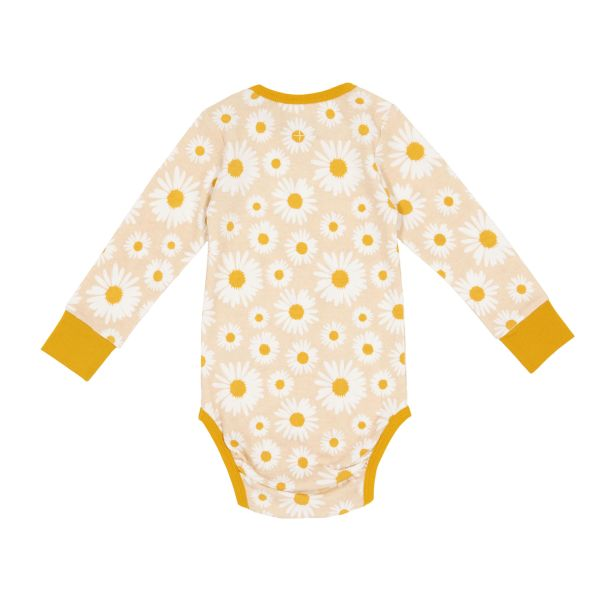 Goldie and Ace Daisy Print Long Sleeve Bodysuit (butter cream)
