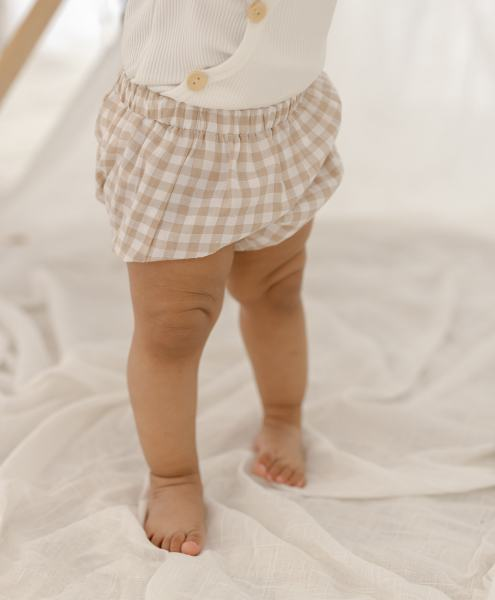Two Darlings Gingham Nappy Cover (sand)