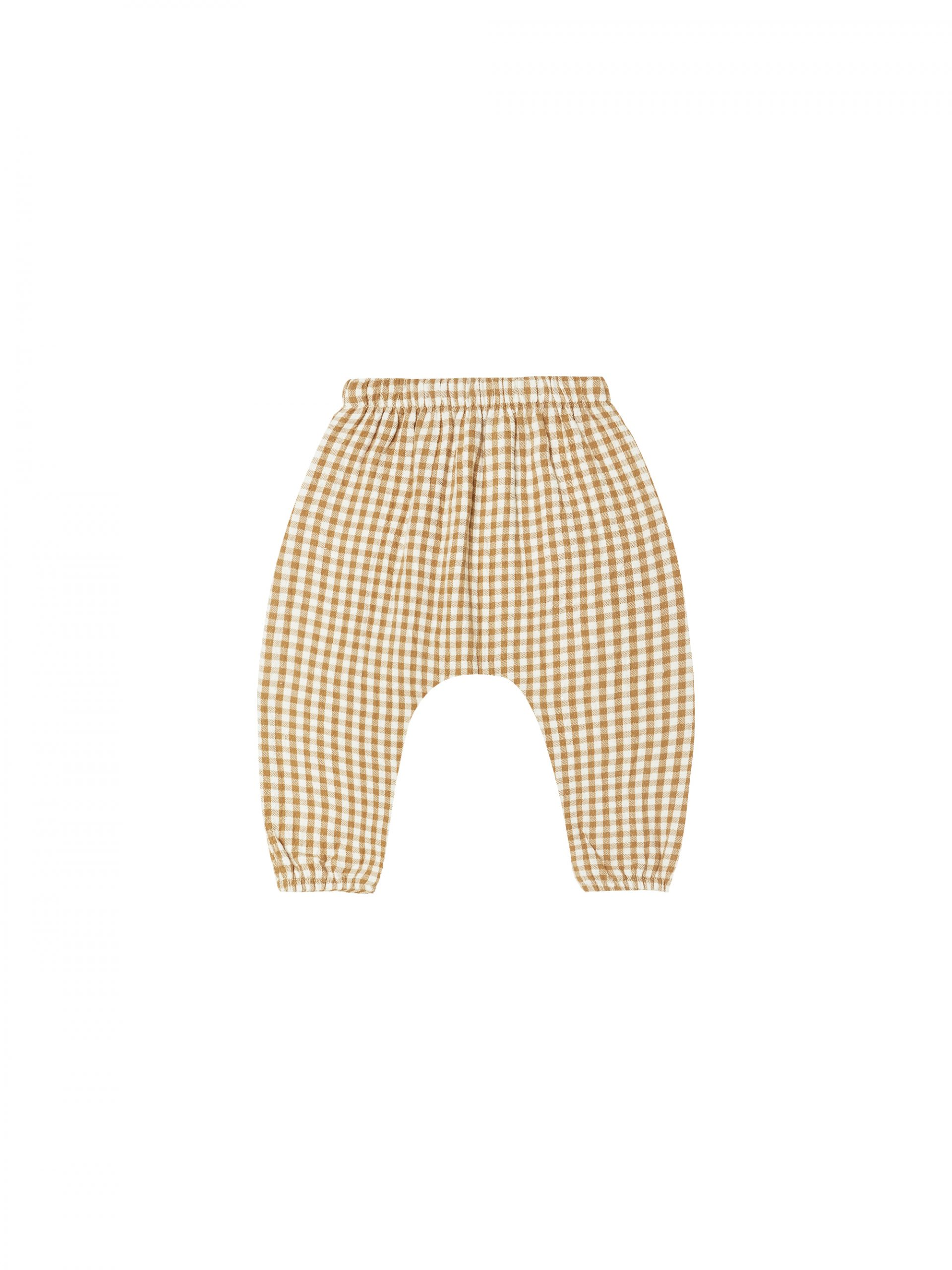 Quincy Mae Woven Pant Gingham (honey/ivory)**PRE ORDER