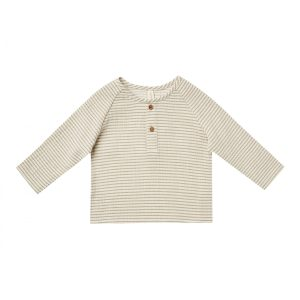 Quincy Mae Zion Shirt (basil stripe)**PRE ORDER