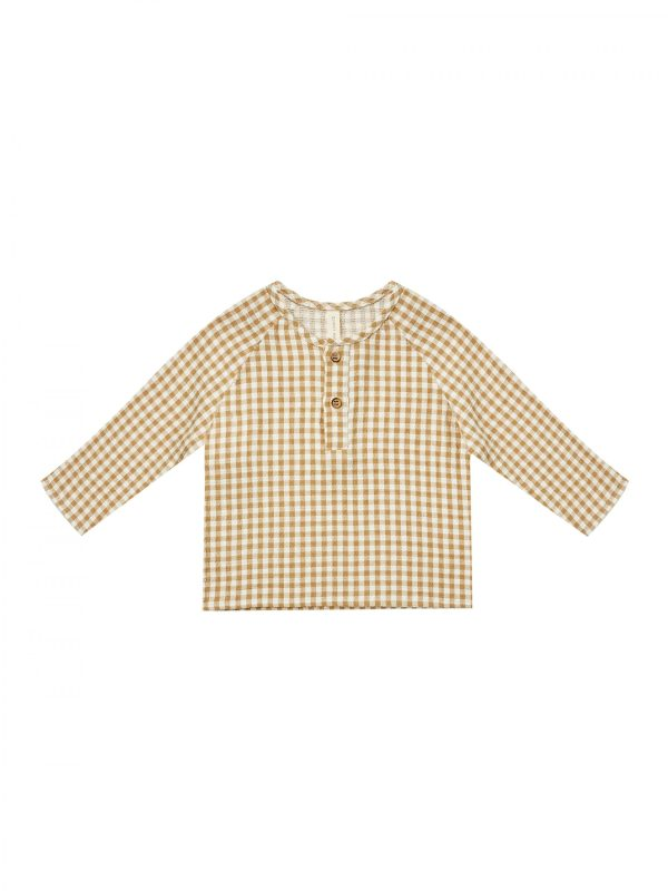 Quincy Mae Zion Shirt Gingham (honey/ivory)**PRE ORDER