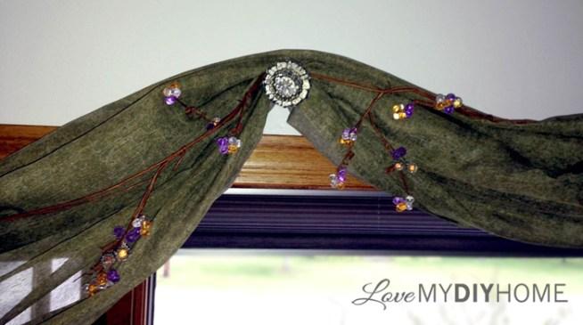 Antique door knob as curtain hanger {Love My DIY Home}