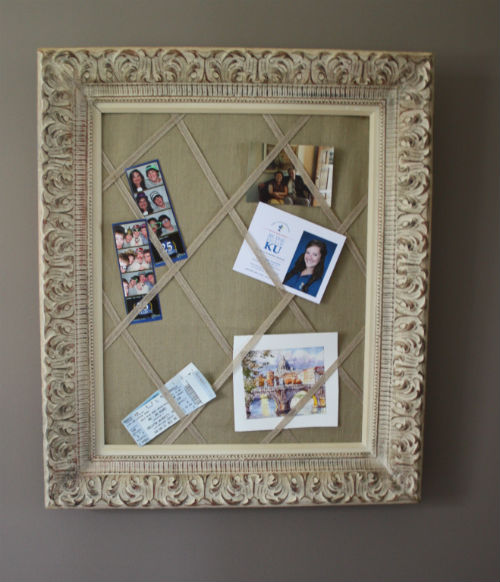 old pic frame upcycled into a french memo board