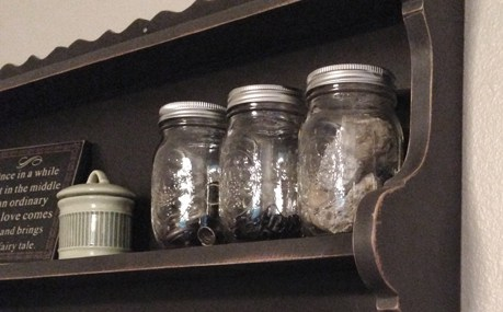 Accidental Artist Strikes Again… DIY Mason Jar Shelf Redo