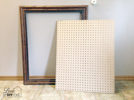 Paint pegboard and pair with a fancy frame {Love My DIY Home}