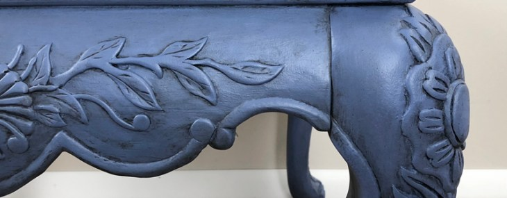 "Carved End Table ""Victoria"" Turns Blue"