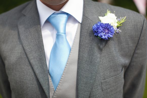 cornflower blue buttonhole for bridegroom