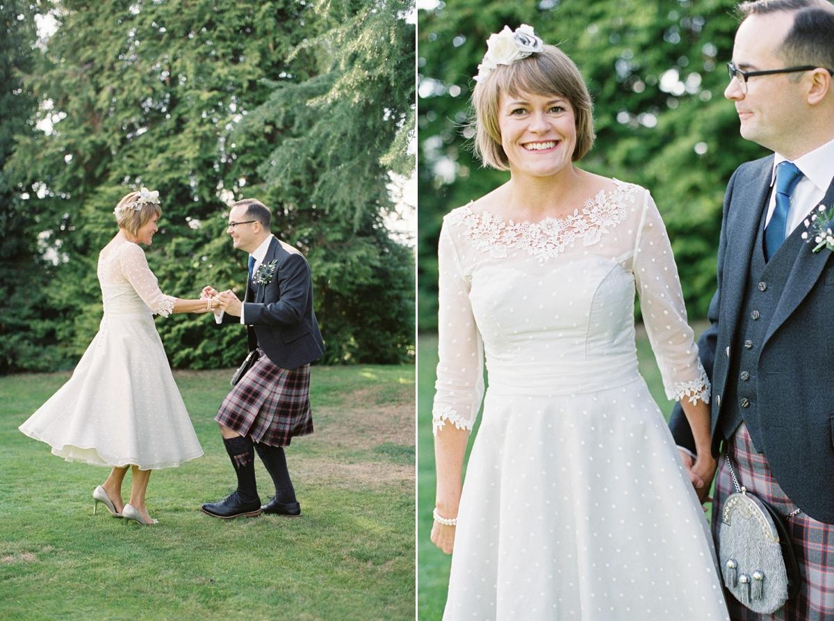 A 50's Inspired Tea Length Wedding Dress For A Lovely
