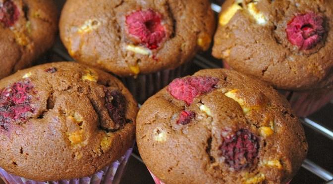 Double chocolate cupcakes met frambozen