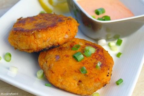 Zoete aardappelkoekjes met tonijn 3