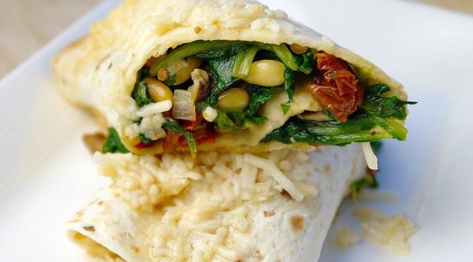 Wraps met spinazie en geitenkaas