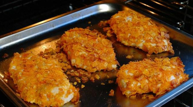Crunchy kip met paprikachips uit de oven