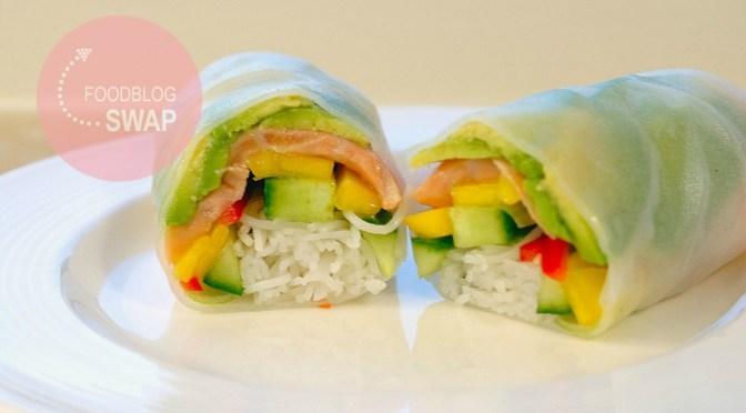 Summer rolls met ceviche en mango
