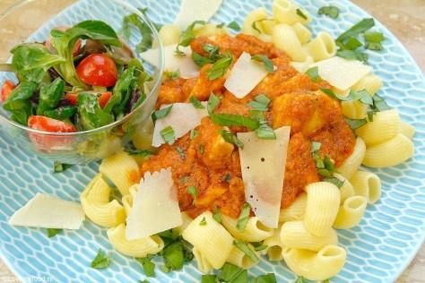 Supersnelle pasta met kip