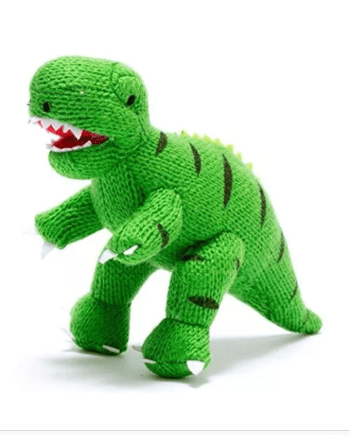 T Rex dinosaur knitted soft toy best years