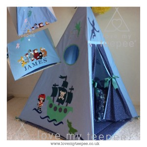 personalised peter pan and the lost boys blue bespoke teepee set