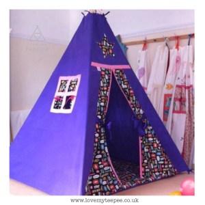 Childrens personalised purple superhero teepee