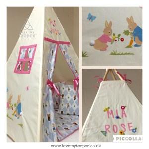 Childrens personalised peter rabbit teepee