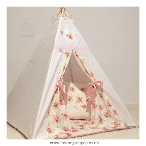 Childrens cream floral teepee