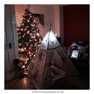 teepee in front of a christmas tree with lights on ready for santa