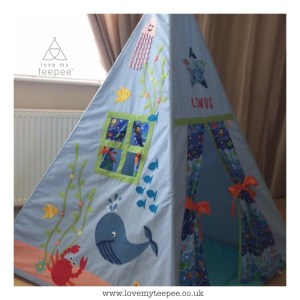 under the sea appliqued whale, fish, crab, octopus blue bespoke teepee