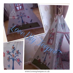 pink rose blue tree house and forest friends bespoke teepee