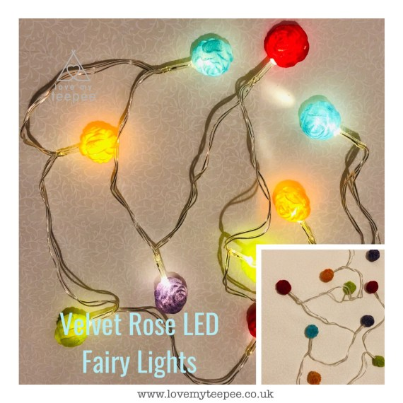 Multi Coloured Velvet Rose LED Fairy Lights