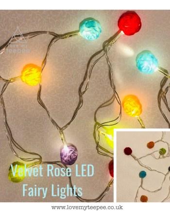 Multi Coloured Velvet Rose LED Fairy Lights