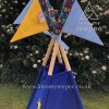 teepee tent pole flags dinosaur royal blue and yellow