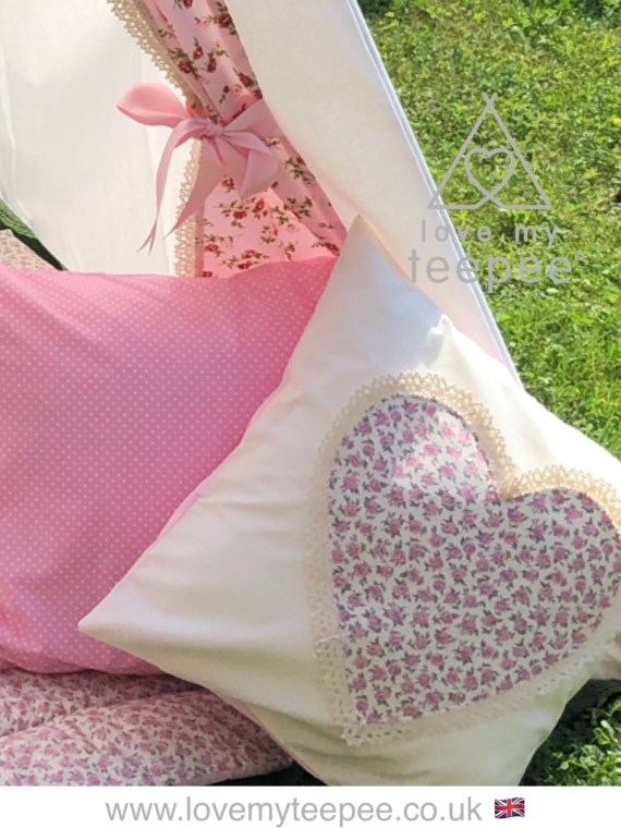 rose heart ivory childrens cushion