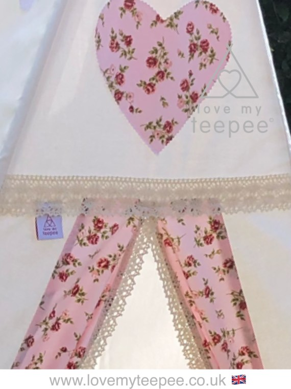 ivory teepee pink rose heart and teepee door fabric edged in cream lace