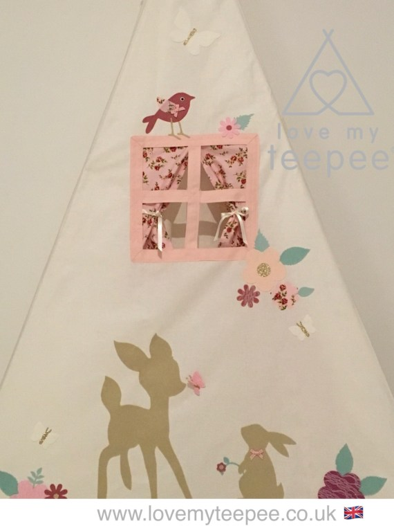 disney bambi and thumper teepee tent with flowers and birds on the side pane, side window with rose pink curtains