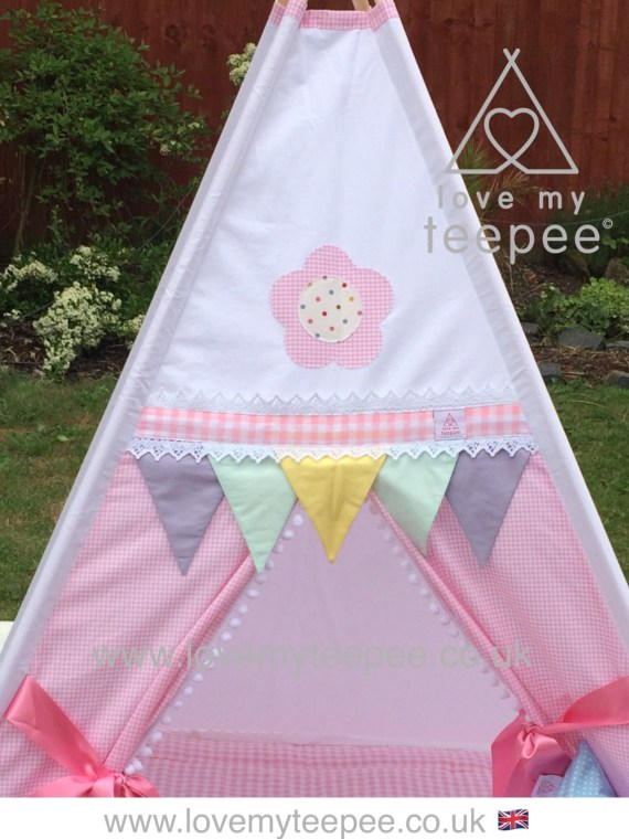 appliqued pastel gingham teepee lace flags