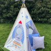 boys rocket star embroidered name teepee tent personalised handmade