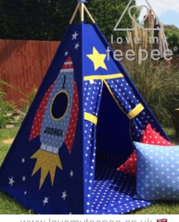 blue star rocket teepee tent personalised handmade