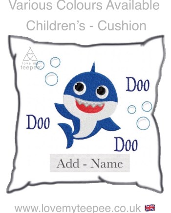 personalised baby shark childrens cushion